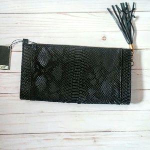 MMS black gator clutch bag